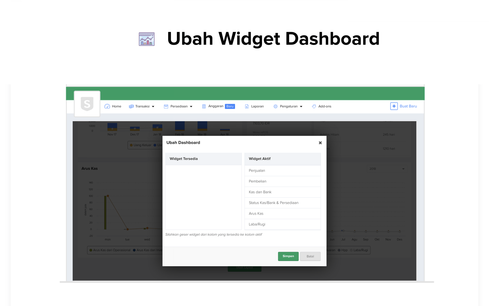 Ubah Widget Sleekr Accounting, software akuntansi online