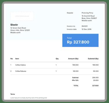 Contoh Template Invoice Gratis Dari Invoice Kilat Sleekr