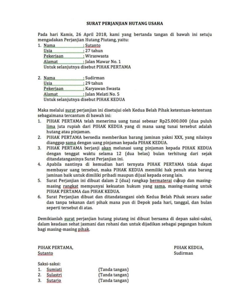 Tips Lengkap dan Contoh Membuat Surat Perjanjian Hutang ...