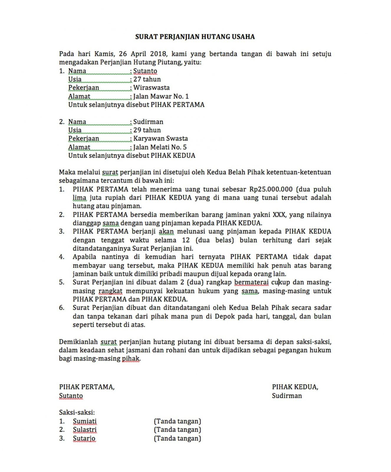 Tips Lengkap Dan Contoh Membuat Surat Perjanjian Hutang