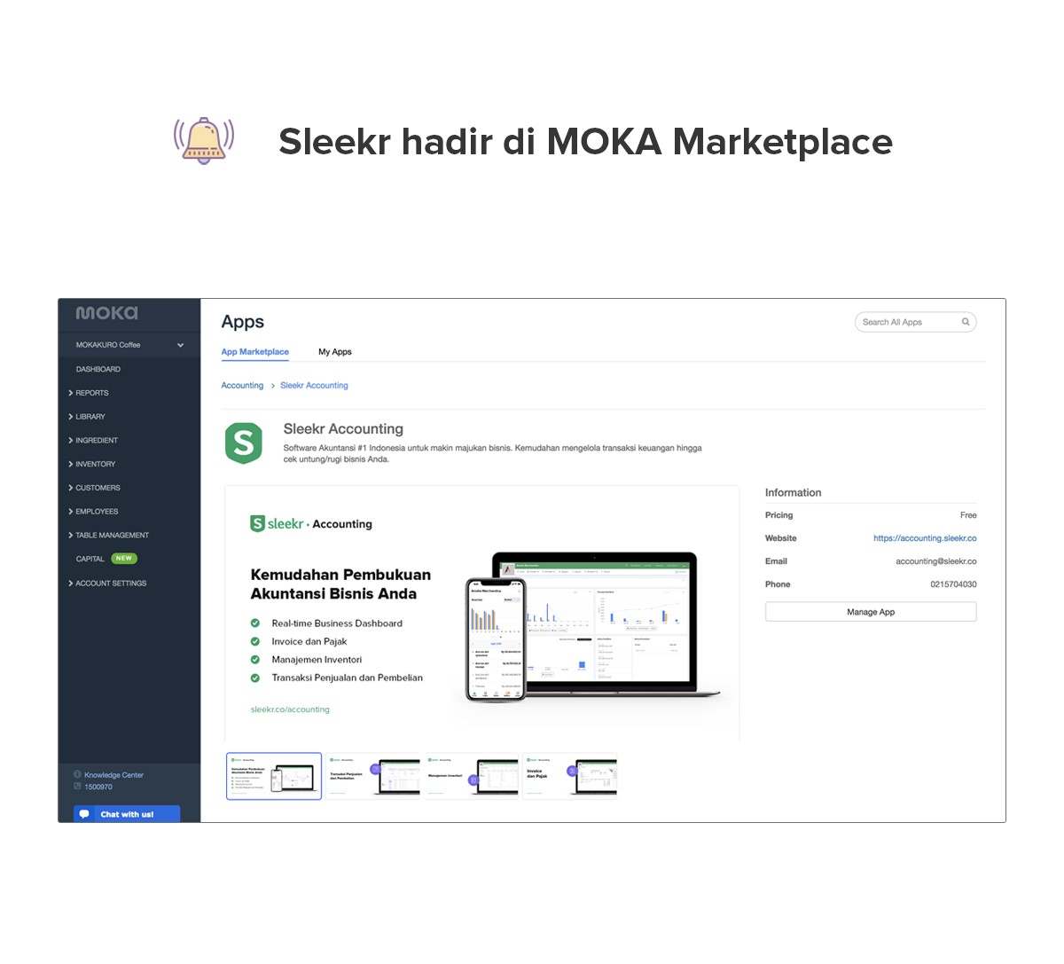 Sleekr Accounting hadir di MOKA POS Marketplace