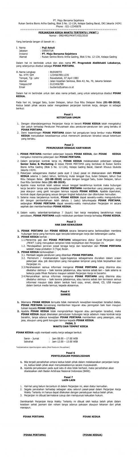 Contoh Kontrak Kerja Karyawan Yang Sesuai Peraturan Di Indonesia